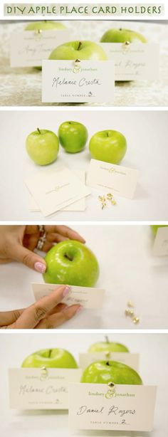 DIY Apple Place Card Holder... so simple and cheap maybe oranges instead to go with color scheme