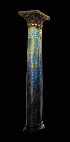 AN IMPORTANT FAVRILE GLASS MOSAIC AND PAINTED GESSO COLUMN   Tiffany Studios, circa 1898-1902   134in. (340.4cm.) high
