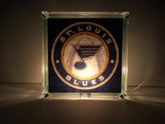 St Louis Blues Hockey Lighted Glass Block by JoesCraftShack, $20.00  Let's go BLUES!   Artfire.com