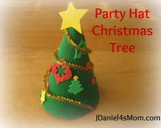 Birthday Hat Christmas Trees - get the kids to make the table centerpieces for Christmas dinner.
