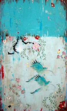 Kathe Fraga 'Chez Nous,' acrylic on frescoed canvas, finished with lacquer. From her 'French Wallpaper Series.'