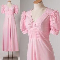 Vintage Maxi Dress Vintage Pink Dress Pink by TrendyHipBuysVintage