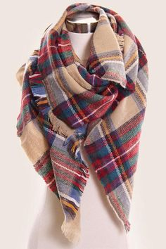 Plaid Blanket Scarf / Oversized Tartan Scarf / Fall and Winter Scarf / Scarves for Women 54x54 Inches Large