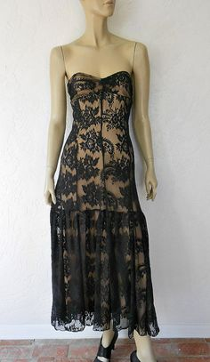 Vintage Lace Dress/ 80's  Sleeveless Nude Illusion by luvofvintage, $36.00