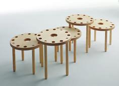 #LC09 di #Lightson : un oggetto polifunzionale che può essere tavolino singolo, tavolo aggregato per la zona living, colonna libreria, seduta per adulti nell'altezza 45 cm e per bambini in quella da 35 cm