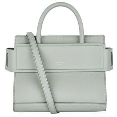 Givenchy Mini Grained Horizon Tote (2,465 CAD) ❤ liked on Polyvore featuring bags, handbags, tote bags, logo tote bags, structured tote bag, givenchy tote, green tote bag and givenchy purse