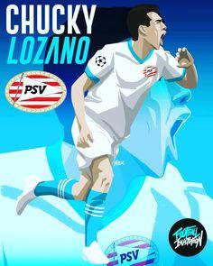 Hirving A. Chucky Lozano hace debut en Champions con gol have Gol otra vez Lozano Barcelona Players, Real Madrid Players, Chucky Lozano, Mexico Soccer, Champions League, World Cup, Leo, Football, Illustration