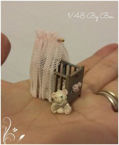 Romantic baby girl cradle with sculpted roses and bear toy, miniature dollshouse scale hand painted and decorated by Bea Barbie Miniatures, Doll Shop, Bear Toy, Minis, Sculpting, Scale, Shabby, Hand Painted, Romantic