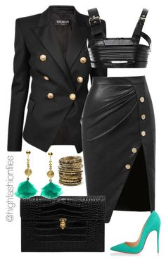 """Feeling Miami"" by highfashionfiles on Polyvore featuring Balmain, FAUSTO PUGLISI, Christian Louboutin, Alexander McQueen, Aurélie Bidermann and Amrita Singh"