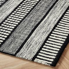 Sloane Handloom Black and White Striped Rug