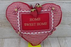 Heart Scatter Cushion Home Sweet Home Gift For Home Mothers Day Red Check FD0910