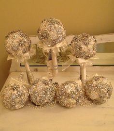 Brooch Bridesmaid's Bouquets  Elegant Ivory & Rhinestones