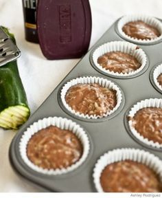 Chocolate Zucchini Muffins  What you need:  2 eggs  1 cup buttermilk  1/2 cup oil  2/3 cup brown sugar  1 tsp. vanilla  1/2 tsp. salt  1-3/4 cup flour  1/2 cup cocoa  2 tsp baking powder  1 tsp. cinnamon  2 cups shredded zucchini  Mix everything together and bake at 350 for about 25 minutes