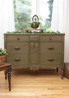 SI Blog - ReStyled Annie Sloan Chalk Paint Olive Vintage Dresser | Salvaged Inspirations