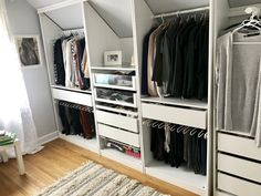 Wardrobe Custom Ikea Sloping Room Closet # Closet # Custom # Liked - Well-Kept Secrets I Attic Bedroom Closets, Attic Wardrobe, Attic Closet, Master Closet, Pax Wardrobe, Ikea Bedroom, Master Bedrooms, Bedroom Ideas, Ikea Closet Hack