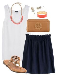 """""""Skirting Around"""" by classically-preppy liked on Polyvore featuring Joseph, J.Crew and Tory Burch"""