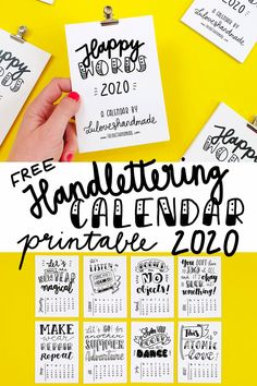 Happy Words - Free Handlettering Calendar Printable 2020    Get your own free Handlettering Calendar Printable 2020 with awesome handletterings and illustrations for download. Made in Berlin by Luloveshandmade.    #freecalendar #calendarprintable #calendarfreebie #handletteringcalendar #handlettering #luloveshandmade #newyear #happynewyear #silvester #kalender #kalenderfreebie Printable Postcards, Printable Cards, Calendar Printable, Free Printables, Calender Print, Free Calendar, Calendar Pages, Berlin, Word Free