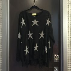 Wildfox White Label Stars Sweater Top Black with silver stars. In brand new condition. Worn only one time. Wildfox Sweaters Cardigans