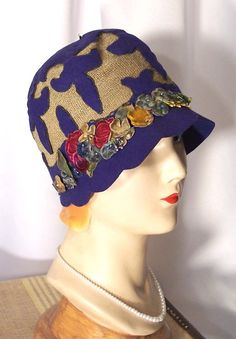 Circa 1920s Blue Fleur de Lis and Velvet Millinery Flowers Cloche.