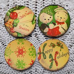 Happy Holidays  Vintage Christmas Card Mousepad coaster set coasters by Polkadotdog