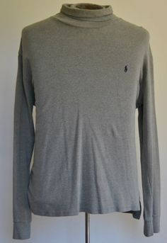 Men's Size XL Polo By Ralph Lauren 100% Cotton Gray Turtle Neck Long Sleeve