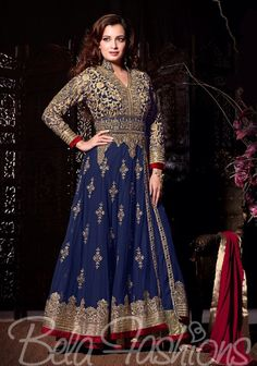 Color : BlueTop Fabrics : NetBottom Fabrics : SantoonDupatta Fabrics : NazneenInner Fabrics : SantoonPattern : Embroidered WorkTop Size : Up to 46 InchesBottom Size : 2.25 MtrDupatta Size : 2.25 MtrInner Size : 2 MtrType : Semi-StitchedWash Care : First Dry Clean