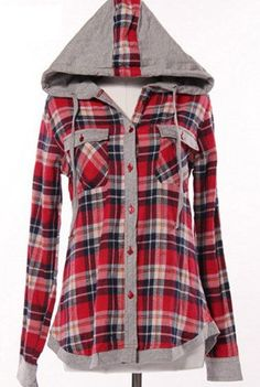 Stylish Hooded Long Sleeve Gingham Single-Breasted Blouse For Women