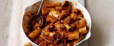 Pasta with smoky sausage ragu