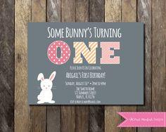 PRINTABLE Bunny First Birthday Invitation - 1st Birthday Invitation Bunny Rabbit - Some Bunny's Turning One Girls Birthday Party 4x6 or 5x7 by PinkStarfishDesigns on Etsy https://www.etsy.com/listing/241296290/printable-bunny-first-birthday