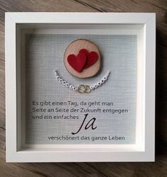 """Wedding Gift Picture """"Rings"""" in Frame Rings Special Edition - Hochzeitsgeschenk Small Envelopes, Pin Collection, Diy Art, Diy Gifts, Party Invitations, Wedding Gifts, Lace Wedding, Wedding Dress, Stampin Up"""