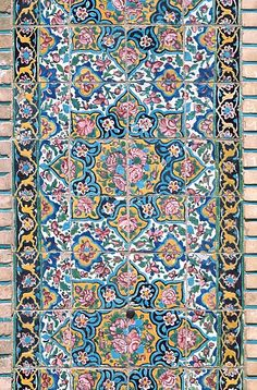 Image IRA 2415 featuring decorated area, in Kerman, Iran, showing using ceramic tiles, mosaic or pottery. Islamic Art Pattern, Pattern Art, Tile Art, Mosaic Art, Latin Decor, Persian Architecture, Paisley Art, Persian Pattern, Islamic Paintings