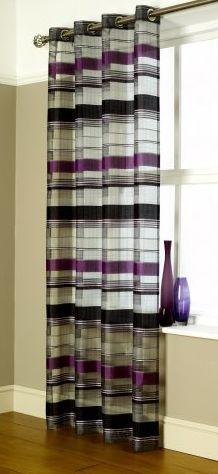 Como Purple-Black Eyelet Voile Panels Voile Panels, Net Curtains, Curtain Ideas, Cheers, Blinds, Ali, Designers, Purple, Black