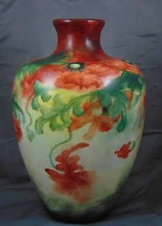 "Large Ceramic Art Company (CAC) Belleek Poppy Motif Vase (Signed ""M.A. Joyce""/Dated 1907)"