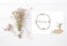 Thank You Card Printable Wedding Thank you Card Shower Thank