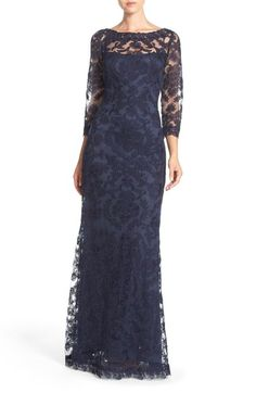 Free shipping and returns on Tadashi Shoji Embroidered Tulle Gown at Nordstrom.com. Exquisite corded embroidery envelopes this enchanting evening gown designed with an illusion bodice and detailed edges to lighten and soften the overall silhouette.