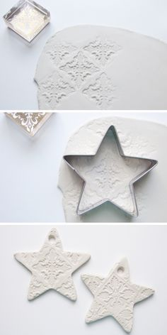 [ Christmas Crafts : Illustration Description make air dry clay stamped embossed christmas star decorations Clay Christmas Decorations, Christmas Clay, Diy Christmas Ornaments, Homemade Christmas, Simple Christmas, Holiday Crafts, Christmas Stars, Craft Clay, Diy Adornos