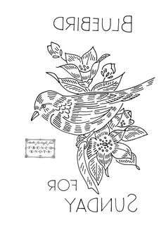 SUNDAY Bluebird - Free Vintage Birds of a Feather Embroidery Transfer Patterns.