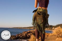 Patchwork Pocket Skirt (Green) - Sexy Fairy Hippie Boho Goa Festival Gypsy Bohemian Skirt with Pocket