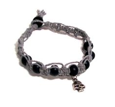 Skull Hemp Anklet  Black Beads on Grey Hemp by MoonSoulJewelry, $10.00