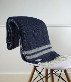 Navy Throw Blanket 100 Percent Wool  Navy Sofa by LondonBlankets