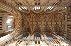Looking up in the Chancel St Alban's Cathedral's 13th-century timber vaulted ceiling was originally painted between 1420 and 1440. | by Lawrence OP Interior Architecture, Interior And Exterior, Let Go And Let God, St Albans, Old Churches, Cathedral Church, Vaulting, Ceiling Design, Looking Up