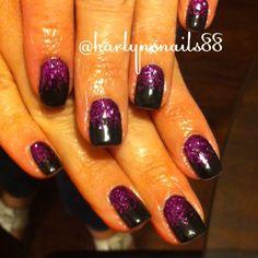 Black and purple gel nails