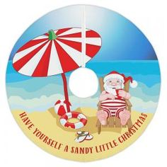 Beach Santa Christmas Tree Skirt