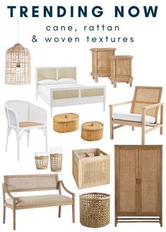Trending: Cane Furniture and Woven Textures - Making Home Base Cane Furniture, Rattan Furniture, Living Furniture, Home Decor Trends, Home Decor Inspiration, Furniture Inspiration, Pinterest Home, Rental Decorating, Living Room Storage