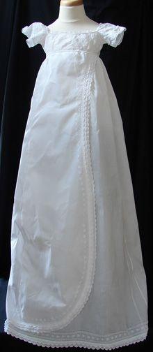 Maria Niforos - Fine Antique Lace, Linens & Textiles : Antique Christening Gowns & Children's Items # CI-96 Circa 1810, Superb Empire Gown w/ Whitework