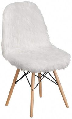 White Shaggy Chair - Flash Furniture fashionable contemporary chair has a retro appeal. This colorful chair will brighten your home or office decor. This chair features a ''cool to touch'' faux fur material with an attractive beechwood base.