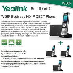 Yealink W56P Bundle of 4 Business HD IP DECT Phone and Base Unit, PoE, Voicemail - Brought to you by Avarsha.com