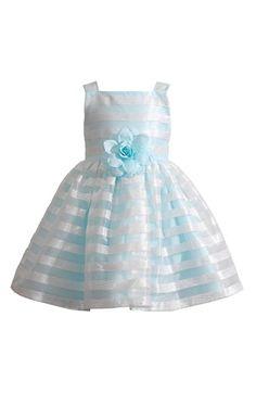 Kleinfeld Pink 'Madison' Sleeveless Stripe Dress (Toddler Girls & Little Girls)