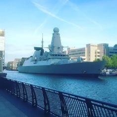 HMS DUNCAN arriving in Canary Wharf by naughtysailor4u