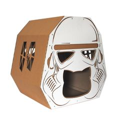 StarWars Imperial Stormtrooper Cardboard Cat House,Cat Furniture from front left side Diy Cat Toys, Pet Toys, Heated Outdoor Cat House, Cardboard Cat House, Cat House Diy, Cat Cave, Cat Condo, Outdoor Cats, Cat Furniture